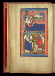 The Nativity and the Annunciation to the Shepherds, in a psalter preceded by miniatures and a Calendar